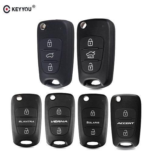 KEYYOU 3 Button Flip Remote Auto Car Key Shell For Hyundai I20 I30 IX35 I35 Accent Solaris Elantra santa fe For Kia cerato	ceed