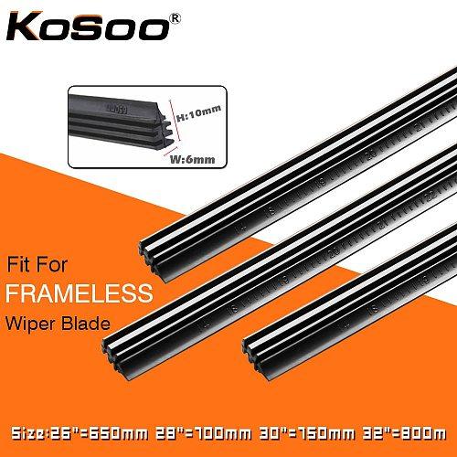 KOSOO 2PCS Vehicle Windshield Insert Natural Rubber Car Wiper Blade Strip (Refill) 6mm 26 28 30 32  Frameless Wiper Accessories
