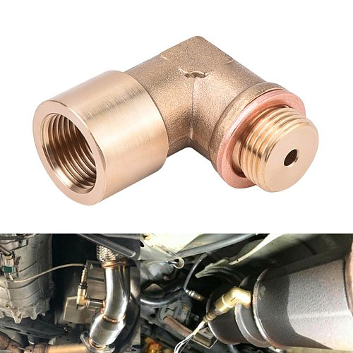 SPEEDWOW 90degree M18x1.5 O2 Lambda Sensor Oxygen Sensor Extender Spacer For Decat Hydrogen Brass