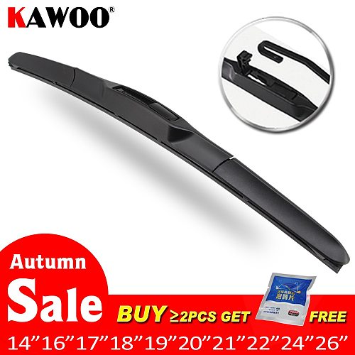 Car Wiper Blade Universal U Hook Type 14 16 17 18 19 20 21 22 24 26  Windscreen Windshield Rubber Hybrid Auto Wipers Accessories
