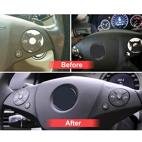 Left & Right Car Steering Wheel Switch Control Button Trim Cover Kit For Mercedes-Benz W204 X204 W212 C E GLK Class 2008-2015
