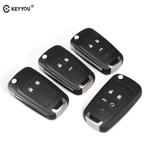 KEYYOU Flip Folding Remote Car Key Shell For Chevrolet Cruze Epica Lova Camaro Impala 2 3 4 5 Button HU100 Blade Replacement