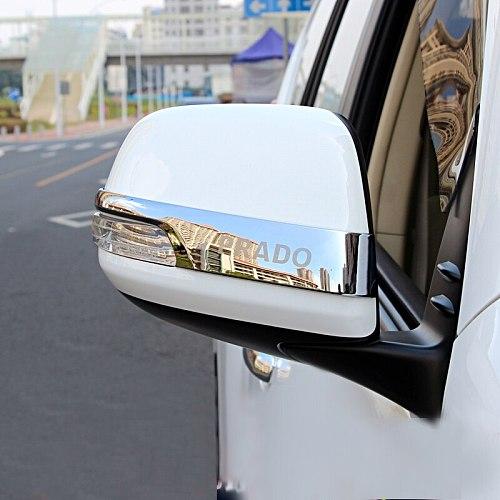 Chrome Car Rearview Mirrors Cover Trim Strip Sticker For Toyota Land Cruiser Prado 150 2010-2016 2017 2018 2019 2020 Accessories