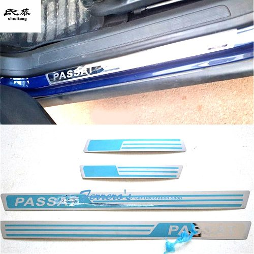 4pcs/lot stainless steel car stickers styling door sill Scuff Plate pedal For Volkswagen VW Passat B5 B7 car accessories
