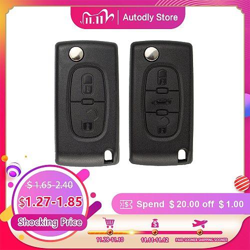 OkeyTech Flip Folding Car Key Shell For Peugeot 206 407 307 607 For Citroen C2 C3 C4 C5 C6 berlingo Remote key Case 2/3 Buttons