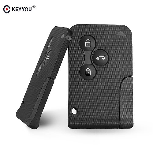 KEYYOU 3 Button 433Mhz ID46 PCF7947 Chip with Emergency Insert Blade Smart Remote Key For Renault Megane Scenic 2003-2008 Card