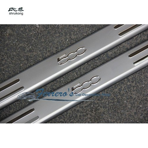 for 2007-2015 FIAT 500 stainless steel scuff plate door sill pedal cover 2pcs/set car accessories