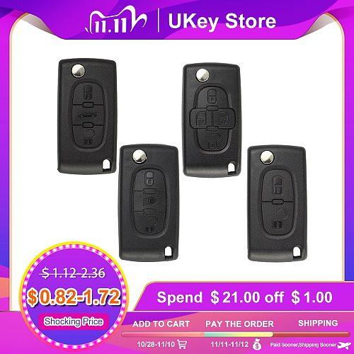 OkeyTech Flip Folding Key Case Blank 2 3 BTN for Peugeot 207 307 308 407 607 807 Case For Citroen C2 C3 C4 C5 C6 HU83 VA2 Blade