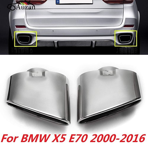 Pair Chrome Exhaust Dual Tail Pipe Muffler Tip Stainless Steel For BMW X5 E70 2008 2009 2010 2011 2012 2013 auto accessories