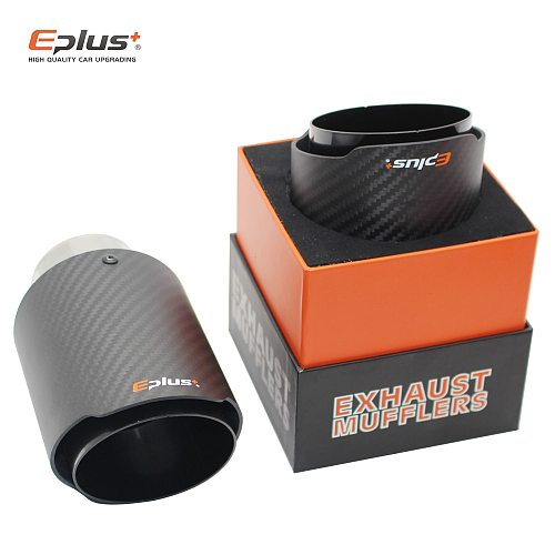 EPLUS Car Matte carbon fiber Muffler Tip Exhaust System Universal Straight Stainless black  Mufflers nozzle Multi-size For Ak