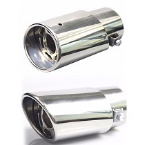 1pc Chrome Trim Modified Car Liner Pipe Stainless Steel Car Exhaust Muffler Tip Pipe  Exhaust System