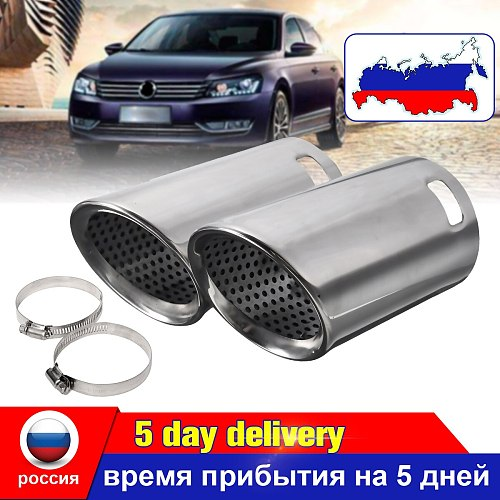Pair Chrome Stainless Steel Car Exhaust Tail Muffler Pipes Tips For VW EOS 2006-2014 For Passat B6 CC For Estate 20052010