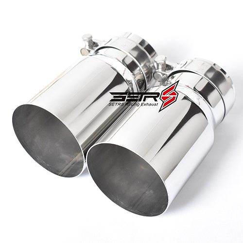 1 PC Stainless Steel Universal Exhaust System End pipe Car Exhaust Pipe Single Straight Muffler Tip For  Mitsubishi Mazad