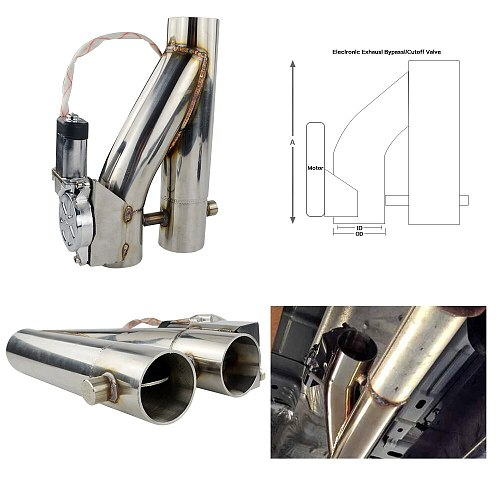 Universal 2  2.5'' 3  Double Valve Electric Exhaust Cut Out Valve Exhaust Pipe Muffler Kit with Wireless Remote Control