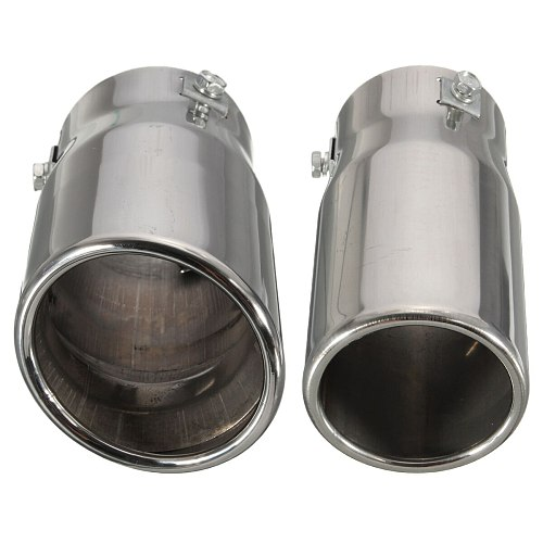 Vehicle Chrome Exhaust Pipe Tip Car Auto Muffler Steel Stainless Trim Tail Tube Auto Replacement Parts Exhaust Systems Mufflers