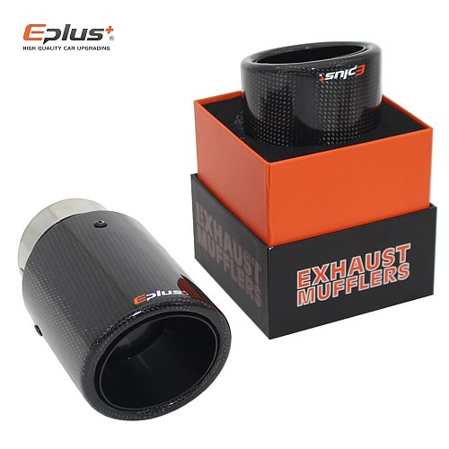 EPLUS Car Glossy Carbon Muffler Tip Exhaust System Universal Crimping Stainless Black Exhaust Pipe Mufflers nozzle For Akrapovic