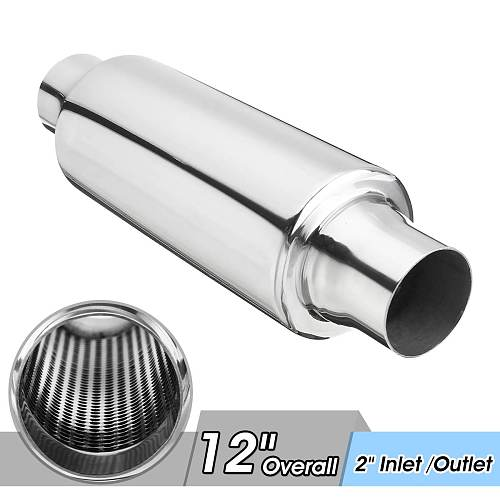 Universal Stainless Steel Car Exhaust Pipe Muffler Resonator 51mm Inlet/Outlet Exhaust Tip Tube Silencer