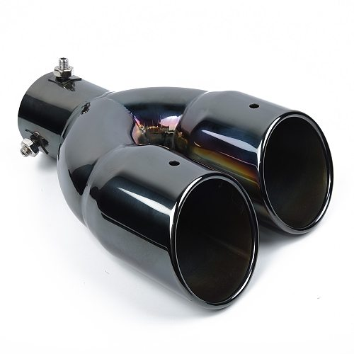 Car Exhaust Pipe Muffler Double-Barrel Auto Vehicle Inlet Dual Rear Muffler Exhaust Tip Tail Pipe Outlet Universal