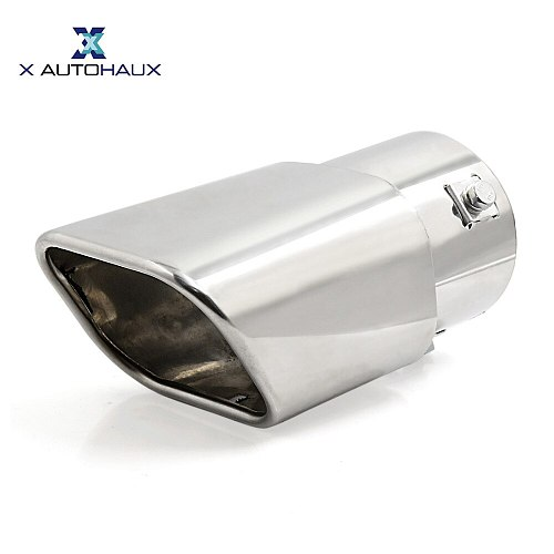 X AUTOHAUX Universal Car Stainless Steel Outlet Fit Diameter 4.45cm/1.75  to 6.35cm/2.5  Exhaust Tail Muffler Tip Pipe