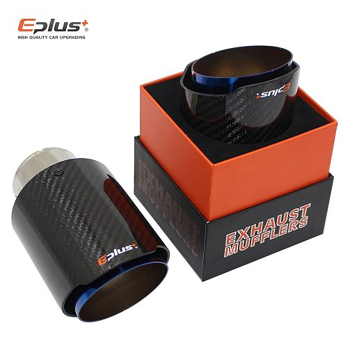 EPLUS Car carbon fiber Muffler Tip Exhaust System Universal Straight Stainless Blue Exhaust Pipe Mufflers Multiple nozzle For Ak
