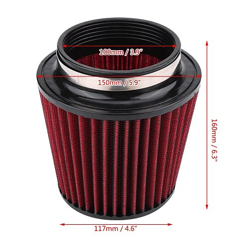 Air Filter High Flow Car Modification Inlet Air Intake Round Cone Air Filters Red PU Cotton Gauze Mesh Filter Mushroom Head