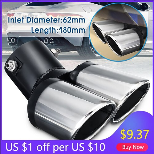 New Universal Car Decoration Chrome Tail Pipe Stainless Steel Curved Dual-outlet Exhaust Trim Muffler Pipe Tail For BMW For Benz