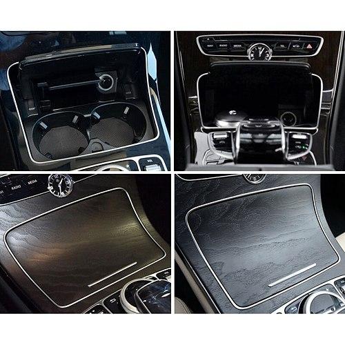 Car Cup Holder Frame Trim Sticker for Mercedes Benz C Class W205 GLC Class W253 2015-2018 Car Interior Styling Accessories
