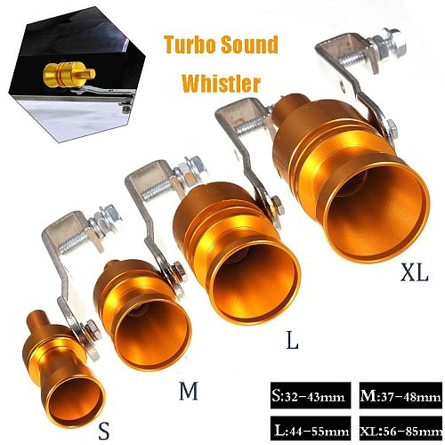 Gold Motorbike Car Blow Off Turbo Whistle Exhaust Muffler Pipe Aluminum Simulator Sound Pipe Car Motorcycle S/M/L/XL Car Styling
