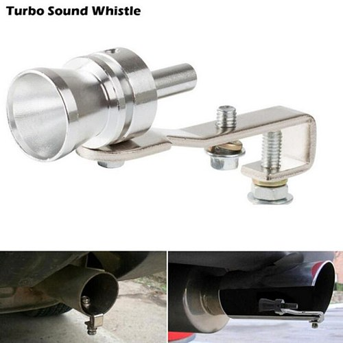 4 Size Universal Car Turbo Sound Simulator Muffler Silver S/M/L/XL Fit for Motorcycle/Car Straight Muffler