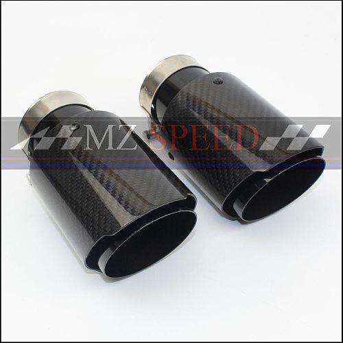 Auto parts exhaust pipe muffler stainless steel  grade carbon fiber material combined muffler black exhaust pipe tail throat