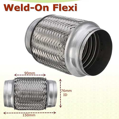 Weld-On 3  x 6  Stainless Exhaust Flex Tube Joint Flexi Repair Flexi pipe 76mm x 150mm