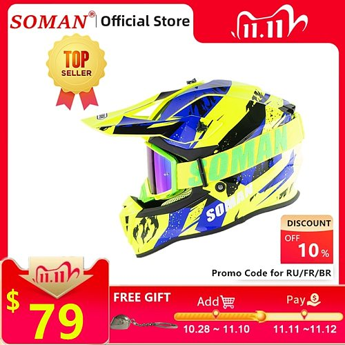 SOMAN Dirt Bike Helmet Motocross ECE Dh Helmets Cool Goggles Motocross Helmet Racing MX Casco Moto Off Road Motorcycle Helmets
