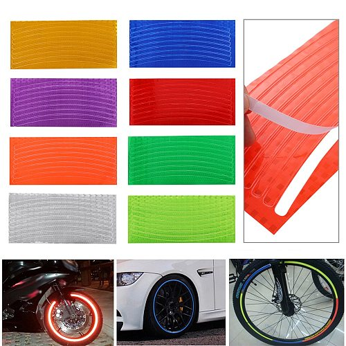 Outdoor Car Motorcycle Cycling Bicycle Reflector Fluorescent Sticker Wheel Rim Reflective Stickers Decal Accessories