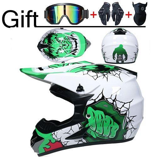 Motorcycle Helmet Professional New Motor Off-road Helmet  Downhill  Racing Motocross Casque Moto Helmet 3 Free Gift Suitable Kid