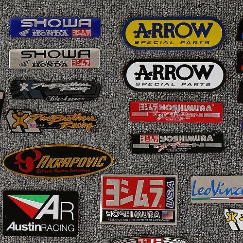 2 X Aluminum 3D Heat-resistant Motorcycle Exhaust Pipe Decals Sticker For Scorpio Yoshimura Emblem Arrow New Arrvial
