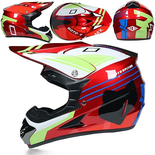 3 Gifts Racing Off-Road Full Face Scooter Motorcycle Motocross Riding Dirt Bike Helmet DOT Vintage Casco Moto