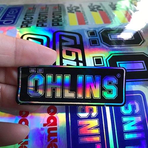 NO.L093 OHLINS Modified Reflective Laser Moto Sticker PVC Ohlins Suspension Modification Decoration Decal 30CM x 19.5CM
