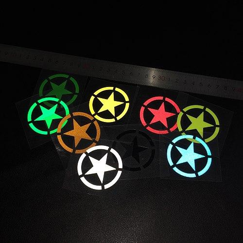 G056 5x5cm Reflective Army Stars Motorcycle Safety Stickers Bike Helmet DIY Sticker Motorcycle GP ATV Fans Cars Sticker Decals