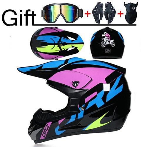 Professional DOT Motorcycle Helmet Off-road Helmet Downhill  Racing Motocross Casque Moto Helmet 3 Free Gift Suitable Kid