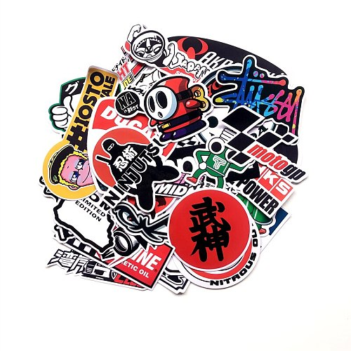 40pcs/set Cartoon Stickers Motorcycle Decals for Motorcycle Helmet Laptop Suitcase Skateboards Guitar Graffiti Stickers