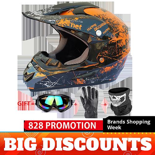 Full Face Motorcycle Helmet Casco Moto Motocross Helmet Off Road Helmet ATV Dirt Bike Downhill MTB DH Capacete Moto Glasses