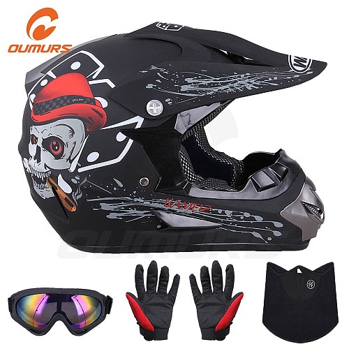 OUMURS DOT Motorcycle Helmet Skull Style Adult Motocross Off Road ATV Dirt Bike Racing Outdoor Motorbike Protective Helmets Men