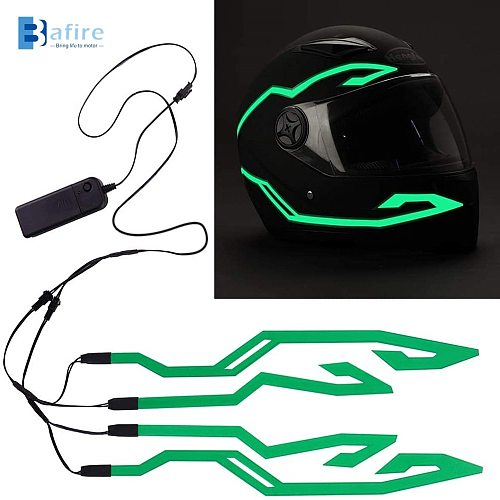 4PCS Multicolor Motorcycle LED Night Riding Signal Helmet EL Cold Light 3 Modes Led Bike Helmet Light Strip decoration Kit Bar
