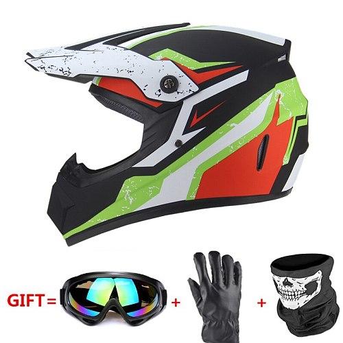 Biker Motorcycle Full Face Helmet Casco Moto Off Road Helmet ATV Dirt Bike Downhill MTB Capacete Moto Glasses Motocross Helmet