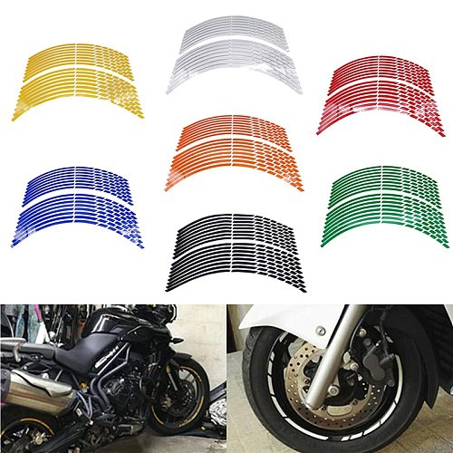 17 18 19  16Strips Motorcycle Car Wheel Tire Stickers Reflective Rim Tape Motorbike Auto Decals For Yamaha Suzuki Honda kawasaki