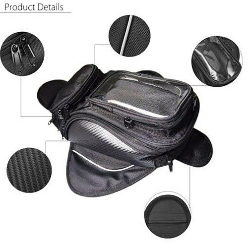 Black Motorcycle Tank Bag Motorbike Oil fuel Tank Bag Magnetic Waterproof Saddlebag