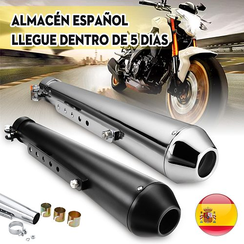 Motorcycle Cafe Racer Exhaust Pipe with Sliding Bracket Matte Black Silver Universal