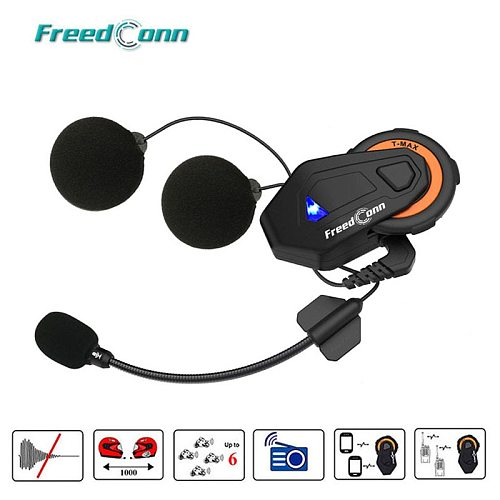 Freedconn T-max Motorcycle Intercom Helmet Bluetooth Headset 6 Riders Group Talking FM Radio Bluetooth 4.1