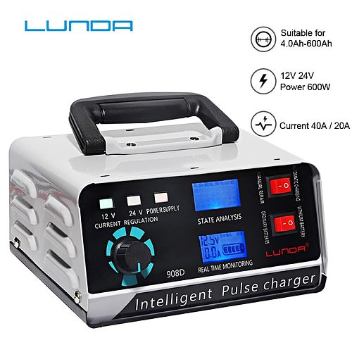 LUNDA 12V/24V Smart Battery Charger Automotive Battery Charger Maintainer 400Ah Trickle Charger for Car Truck Boat Motorcycle RV