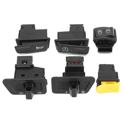 6pcs Motorcycle Button Switches Head Light Horn Dimmer Turn Singal Starter For Moped Scooter Gy6 50cc 125cc 150cc